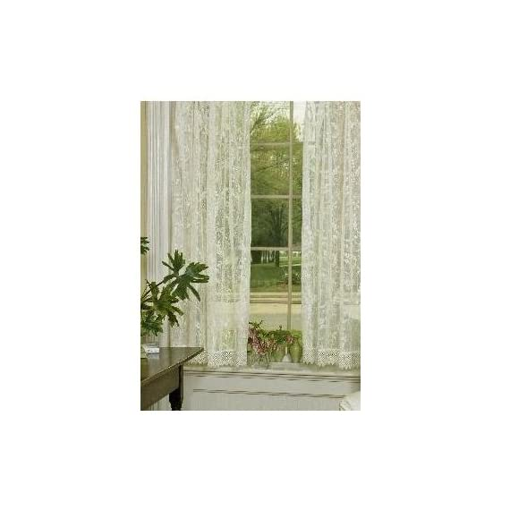 Heritage Lace Coventry 45-Inch Wide by 63-Inch Drop Panel with Trim, Ivory - Window panel with trim Fine-gauge lace Made in USA - living-room-soft-furnishings, living-room, draperies-curtains-shades - 41gOi P7tEL. SS570  -