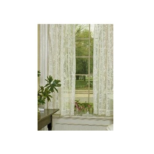 (Heritage Lace Coventry 45-Inch Wide by 63-Inch Drop Panel with Trim, Ivory )