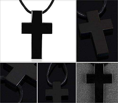 Vnox Pendentif en acier inoxydable Chunky Christ Crucifix Croix Collier pour hommes avec chaîne en cuir réglable