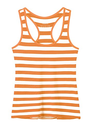 Vislivin Tank Tops for Women Racerback Tank Top Basic Workout Tanks Orange Stripe XL ()