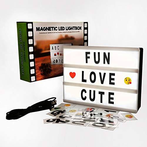 Cinema Light Box with Letters - Vintage Cinematic Light Up Message And Note Sign With 160 Letters, Numbers, Symbols & Emojis – Personalized A5 Magnetic White LED Lightbox With Long Durable USB Cable