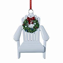 Beach Themed Christmas Ornaments Kurt Adler Adirondack Chair Wreath White 4 Inch Resin Ornament beach themed christmas ornaments