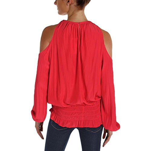 Ramy Brook Womens Cold Shoulder Smocked Casual Top Red S by Ramy Brook (Image #1)