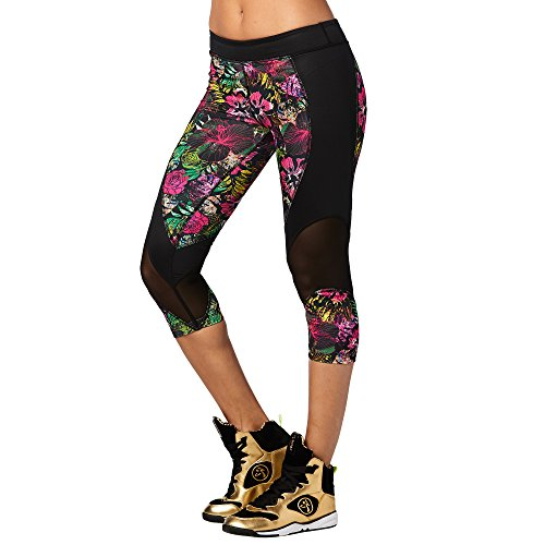 Zumba Wide Waistband Dance Fitness Compression Fit Metallic Capri Workout Leggings for Women, Shocking Pink, XS