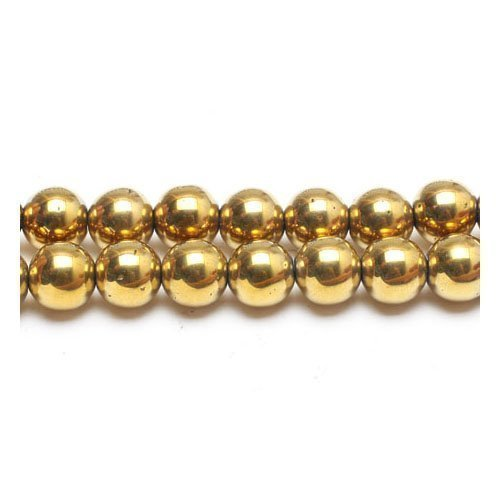 16 Inch Strand Gold Plated Hematite Rounds 10mm (At least 39 Beads) GS15621-5