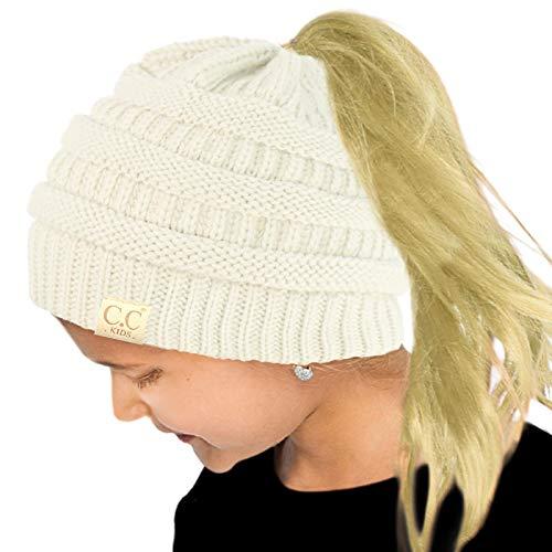 Kids Ponytail Messy Bun BeanieTail Soft Winter Knit Stretch Beanie Hat Solid Ivory
