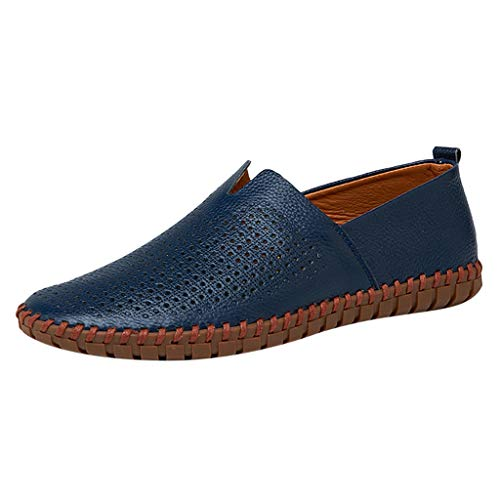 (Respctful ♫♫Men's Fashion Loafer Lightweight Slip On Driving Shoes Leather Casual Soft Penny Loafers Blue)