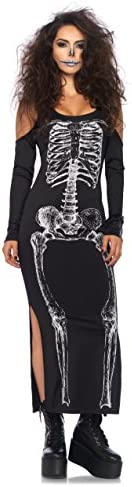 LEG AVENUE 85565 - Kalte Schulter Kleid mit Seitenschlitz mit Skelett Druck, Damen Fasching, S/M, schwarz/weiß