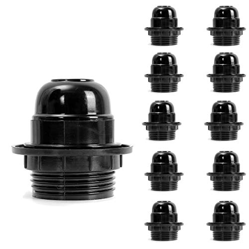 10pcs Vintage Socket, Motent Industrial Retro US Standard Black Lamp Holder for E26 Edison Screw Bulb, Antique UL Listed Bakelite Medium Base Light Fixture Replacement, 38mm Dia for Wall/Drop Light