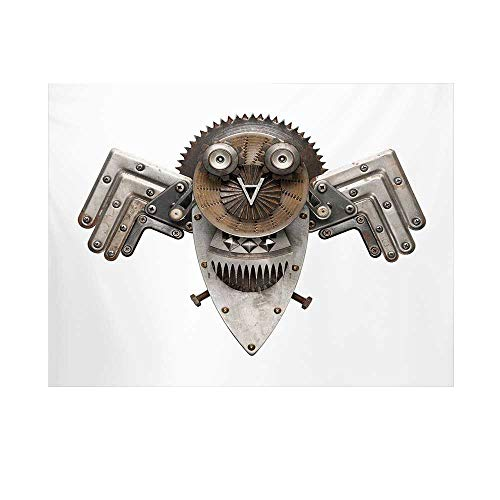 Industrial Photography Background,Stylized Collage with Owl Figure Cog Hardware Gear Machinery Animal Print Decorative Backdrop for Studio,10x8ft