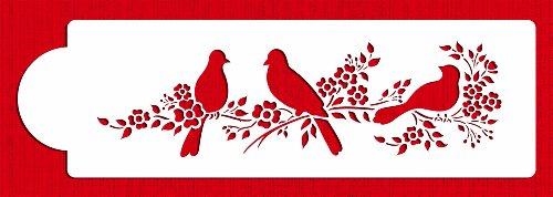 Stencil Love Bird - Designer Stencils C777 Love Birds Side Cake Stencil, 3.5 x 12.3 inches, Beige/semi-Transparent
