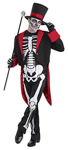 Voodoo Uk Costume (Men's Mr Bone Jangles Skeleton Suit)