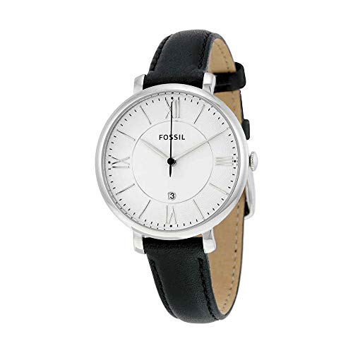 Fossil Women's Jacqueline Quartz Stainless Steel and Leather Casual Watch, Color: Silver-Tone, Black (Model: ES3972)