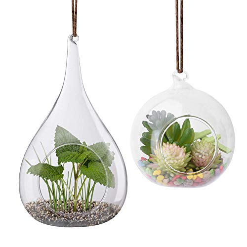 2 Pack Glass Hanging Planter Hanging Air Plant Terrarium Pots Heat-Resistant Glass for Succulent Fern Terrace Candle Holder, Garden/Home Decor (Teardrop Hanging Vases Glass)