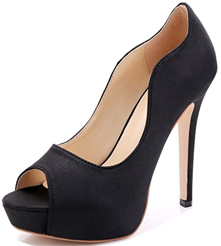 Littleboutique New Peep Toe Satin Wedding Platforms Stiletto Evening Shoes Dress Pumps Bridal Shoes Heels Black 5 ()