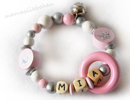 Mamasliebchen Greifling mit Name Wunschname Baby Beißring Rassel silber-rosa 20143