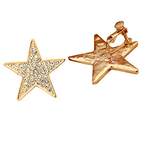 Latigerf Gold Plated Large Star Screw Back Non-Pierced Clip on Earring Clips for non Pierced Ears - Earrings Screw Rhinestone Clip