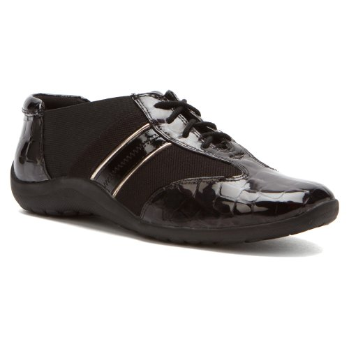 Ros Hommerson Womens Nancy Oxfords Black Croc Patent / Pewter Piping Izroma0n