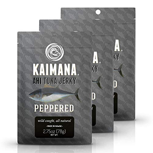 (Kaimana Ahi Tuna Jerky Peppered 3 Pack - Soft and Tasty - Premium Fish Jerky Made in the USA. High in Omega 3's, All Natural and Wild Caught)