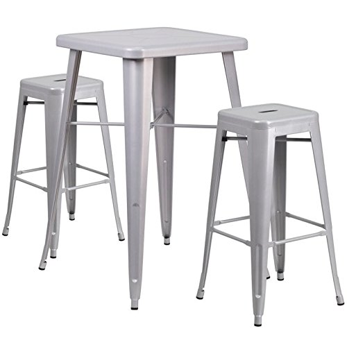 Outdoor Furniture Shop - Flash Furniture 23.75'' Square Silver Metal Indoor-Outdoor Bar Table Set with 2 Square Seat Backless Stools