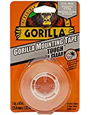 Gorilla Tough & Clear Double Sided Mounting Tape, Hanging, Instant 15lb Strong Hold, Permanent Bond, Weatherproof, 1 in x 60 in, Clear, (Pack of 1), 6065101