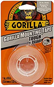 Gorilla Tough & Clear Double Sided Mounting Tape, Hanging, Instant 15lb Strong Hold, Permanent Bond, Weath