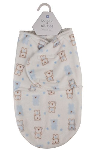 Buttons and Stitches Infant Saddle Sack Flannel Fleece with Bear Imprint for Boys, White