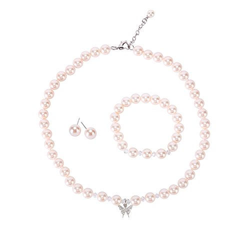 (LEILE 8mm Faux Crystal Glass Imitation Pearls Necklace Bracelet Earring Butterfly Pendant Jewelry 3 Set for Little Girl Kids (Pink,14.5inch) )