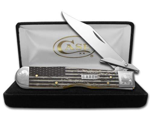 CASE XX Scrolled U.S. Flag Natural Bone Cheetah 1/200 Stainless Pocket Knife Knives