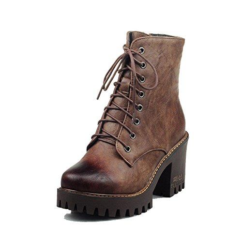 Toe Solid Women's Allhqfashion Closed Round Brown PU Boots Zipper Heels High U85dT5wq