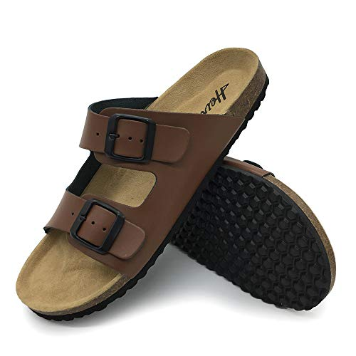 FUNKYMONKEY Men's Slides Sandal Double Buckle Adjustable Leather Flat Sandals (9 M US-Men, Brown/Men)