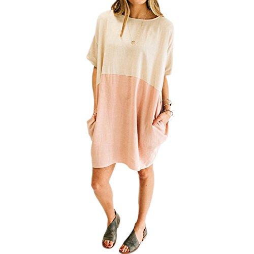 (Feraco Women's Two Tone Colors Cotton Linen Tshirt Dress Half Sleeve Loose Midi Dresses with Pockets, Pink Medium)