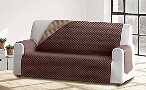 Cabetex Home - Cubre sofá Reversible Bicolor con ajustes - Microfibra Acolchada Antimanchas (Beige/Chocolate, 1 Plaza)