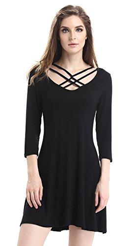 black strappy t shirt dress - 2