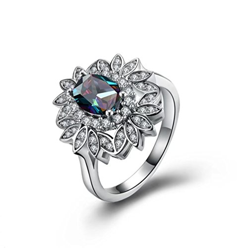 FENDINA Jewelry New Mysterious Rainbow Topaz 18KT White Gold Plated (Accents New Leaf)
