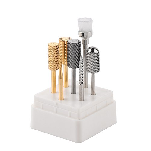 Gold Drill Bit Set - MAKARTT 7PCs Professional Nail Drill Bits Set Electric Nail File Carbide Bit Silver Gold Nail Art Tools