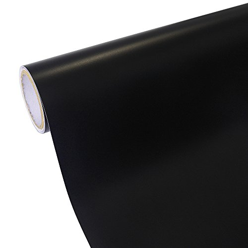 TECKWRAP 12x10ft Matte Black Craft Vinyl Permanent Adhesive Backed Vinyl for Craft Projects