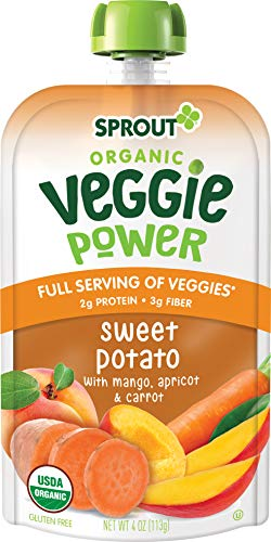 Sprout Organic Veggie Power Toddler Pouches Sweet Potato with Mango; Apricot and Carrot Pack of 12
