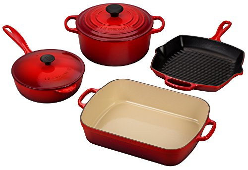 Le Creuset Signature 6-Piece Cast Iron Cookware Set, Cerise (Cherry Red)