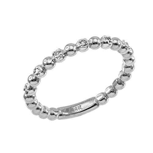 Fine 10k White Gold Beaded Stackable Ring with Natural Diamonds (Size 5.75)