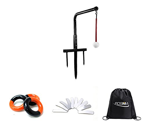 POSMA ST080C Metal Golf Swing Trainer Club Champ Swing Groover and Weight Power Swing Ring Red and Black + Lead Weight Tapes with Black Cinch Sack Carry Bag- Golf Training Aid