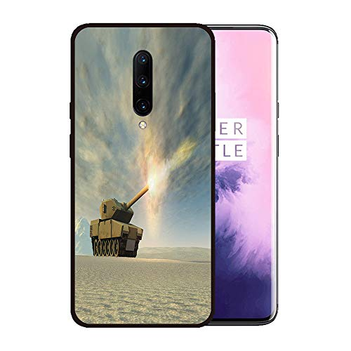 (Case for OnePlus 7 pro,Silicone Cover and Tempered Glass 2 Materials,Non-Slip, Anti-Drop, Anti-Scratch,Depict- Battle Tank Firing)