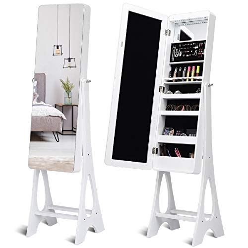 (WATERJOY LED Jewelry Armoire Organizer with Bevel Edge, Full Length Mirror Standing Mirror Jewelry Box, 3-Angle Adjustable Mirror Jewelry Cabinet (White))