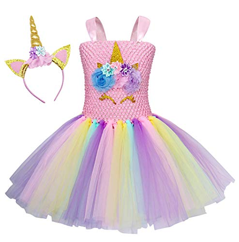 Cotrio Rainbow Unicorn Tutu Dress Girls Birthday Party Fancy Dresses with Headband Kids Halloween Costumes Outfits 2-12 Years (Size 8, 8-9 Yrs, Pink)