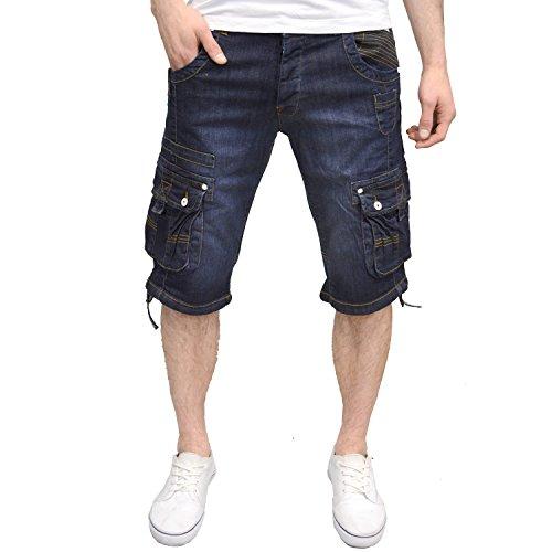 Branded Denim (Crosshatch Mens Designer Branded Summer Denim Cargo Combat Shorts)