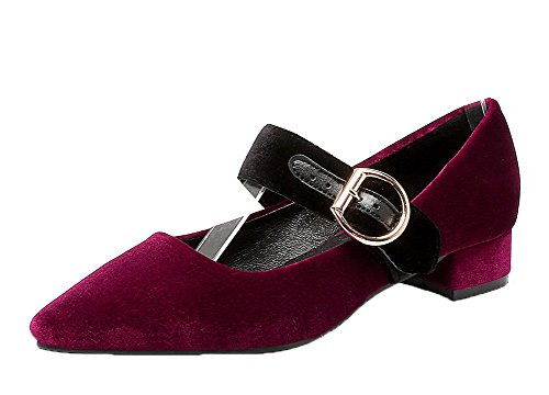 AmoonyFashion Womens Frosted Low-Heels Pointed-Toe Buckle Pumps-Shoes Claret I8nGYXi5Y