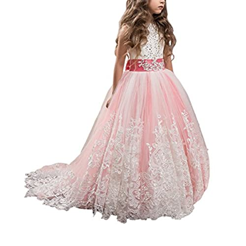 Princess Coral Pink Long Girls Pageant Dresses Kids Prom Puffy Tulle Ball Gown US 6