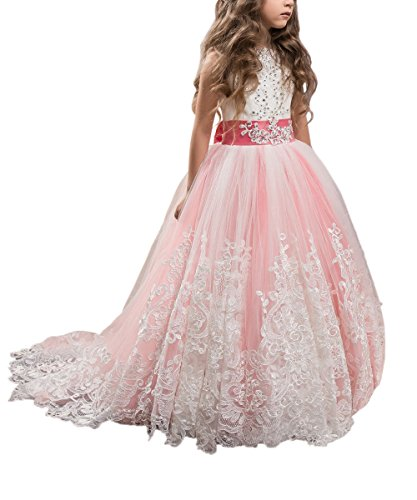 WDE Princess Coral Pink Long Girls Pageant Dresses Kids Prom Puffy Tulle Ball Gown US 8