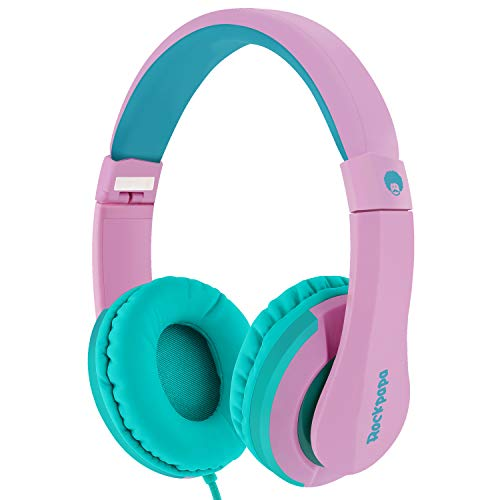 - RockPapa I22 Foldable Adjustable On Ear Headphones with Microphone for Kids/Adults iPhone iPad iPod Tablets MP3/4 DVD Computer Pink Green