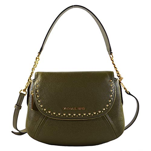 Michael Kors Aria Studded Medium Convertible Leather Crossbody Shoulder Bag Purse Handbag, Olive